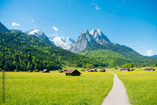 Garden Poster Blue Mountain panorama in front of blue sky (Garmisch - Partenkirchen)