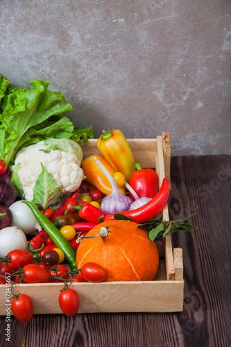Fotobehang Groenten Fresh autumn vegetables in wooden box organic food
