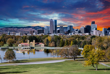 Denver Skyline And Mountains B...