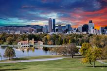 Denver Skyline And Mountains Beyond Lake