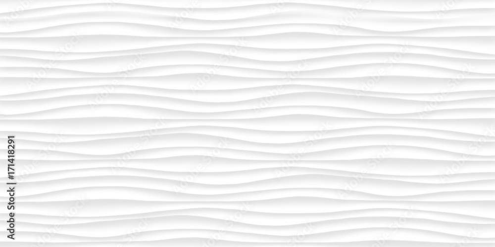 Fototapety, obrazy: Line White texture. Gray abstract pattern seamless. Wave wavy nature geometric modern.