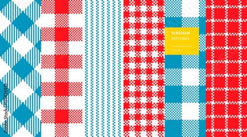 Gingham plaid classic colors seamless pattern set Canvas Print