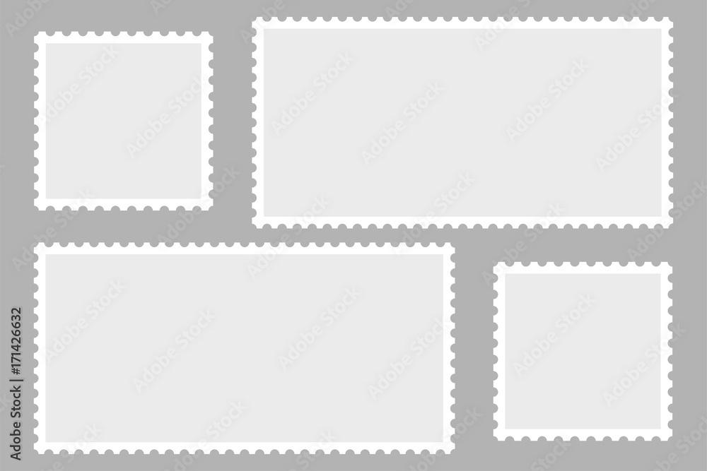 Fototapety, obrazy: Blank Postage Stamps. Light Postage Stamps on gray background. EPS10