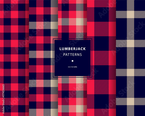 Photo  Lumberjack seamless patterns set