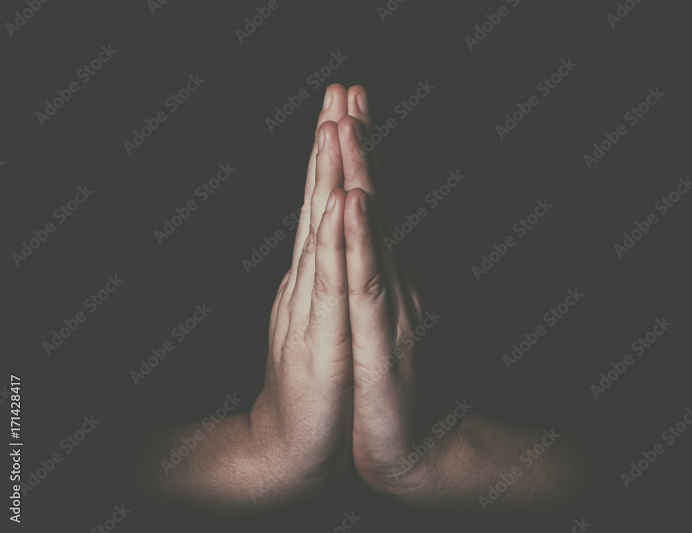 Fototapety, obrazy: Man hands in praying position low key image