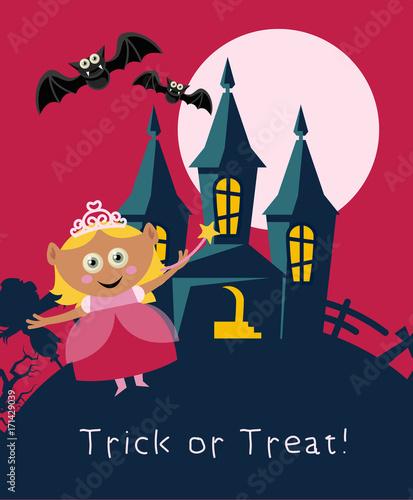 Spoed Foto op Canvas Pony Happy Halloween vector greeting card with halloween monsters