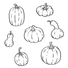 Collection Of Outline Pumpkins...