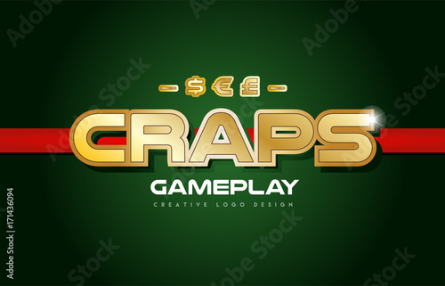 craps word text logo banner postcard design typography Canvas Print