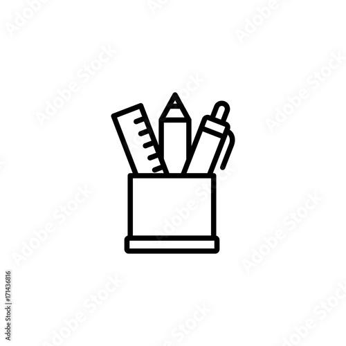 Fototapeta  pen holder line black icon