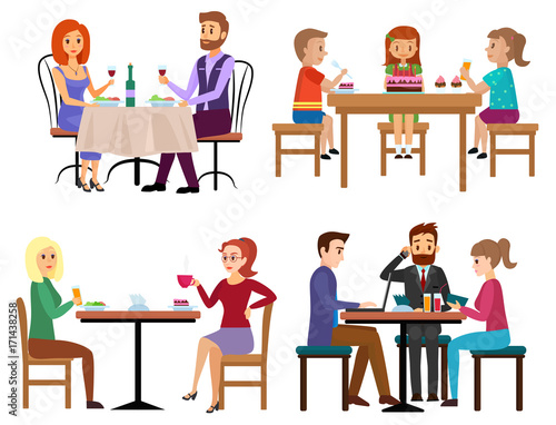 Eating People Set Couple Friends Family Children And Businessman