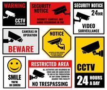 Security Camera Sticker, Video Surveillance Symbols, Cctv Icons