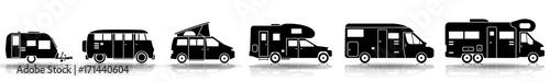 Photo Camping - Verschiedene Wohnmobile (Set in Schwarz)