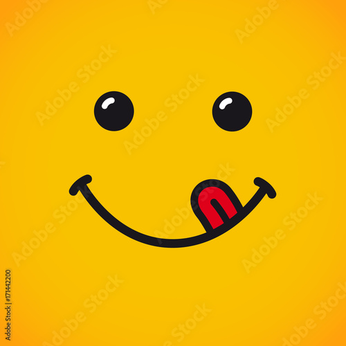 Fotografie, Obraz  Yummy emoji smile face banner