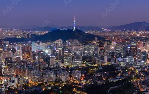 Foto op Canvas Seoel Seoul city and namsan tower at night in seoul,Korea