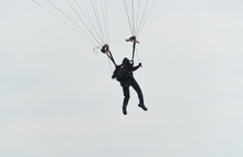 Navy Parachutist In A Sky On Chicago Air Show In 2017