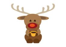 Happy Smiling Reindeer Rudolf Drinking Coffee From Orange Yellow Tea Cup
