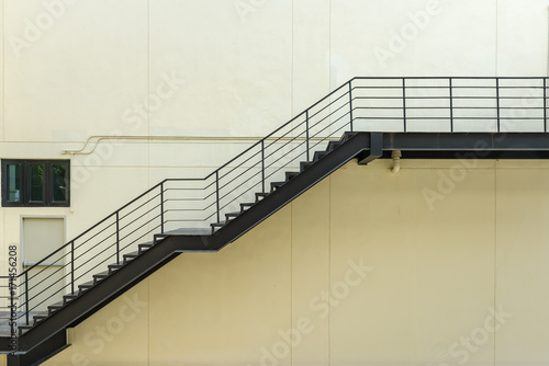 Photo Stands Stairs stair for fire escape with the steel railing and ladder