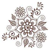 Brown Henna Flower Pattern Spi...