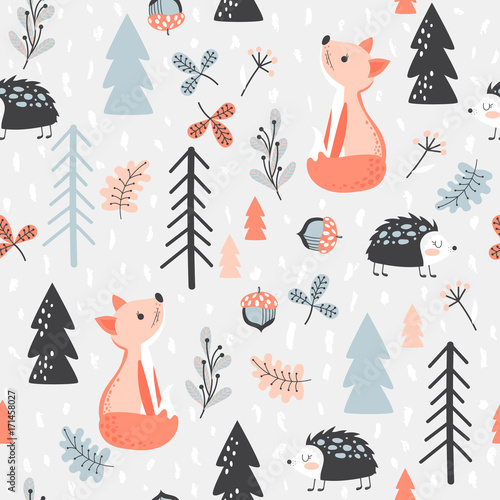 Fényképezés  Seamless background with forest animals