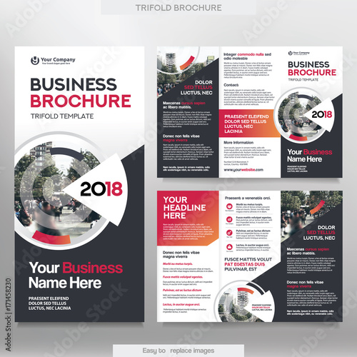 business brochure template in tri fold layout  corporate design leaflet with replacable image