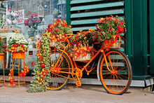 Bicycle Decorated With Autumn Flowers, Leaves, Pumpkins And Corns Near The Shop