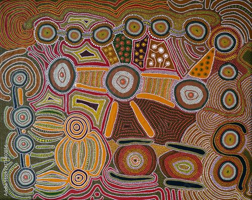 aboriginal style - dot painting Wallpaper Mural