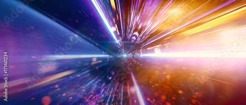 Fotografia, Obraz  Daten fliegen mit Lichtgeschwindigkeit über die Datenautobahn in einem Glasfaser