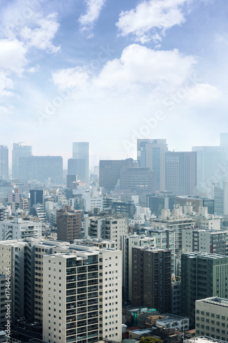 Aluminium Prints Cityscapes of tokyo in Fog after rain in winter season, Skyline of Bunkyo ward, Tokyo, Japan
