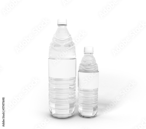 Big and small plastic bottle concept 3d render on white
