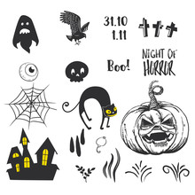 Set Of Silhouettes For Halloween Party. Hand Written Greetings Happy Halloween. BAt, Skull, Cat, Pumpkin, Spider, Bone, Grave, Ghost, Cross, Bird, Star, Castle And Overs