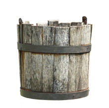 Old Wooden Bucket Of Water Han...