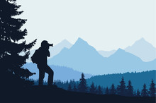 Vector Illustration Of A Mountain Landscape With Trees And A Human Being Photographed Under A Blue-gray Sky