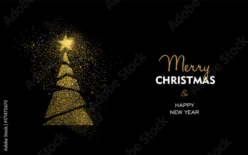 Fotografie, Obraz  Christmas and new year gold glitter pine tree card