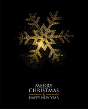 Christmas And New Year Gold Glitter Snowflake Card