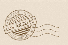 Welcome To Los Angeles, USA. Tourist Brown Stamp With US National Flag On Beige Background