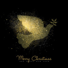Christmas And New Year Gold Gl...