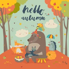 Hello Autumn Background With C...