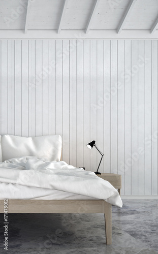 The Minimal White Bedroom Interior Design And Wood Texture Wall 3d Rendering New Scene New Design Buy This Stock Photo And Explore Similar Images At Adobe Stock Adobe Stock