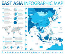 East Asia Map - Info Graphic Vector Illustration