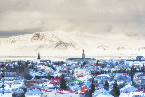 Fotografia, Obraz  Reykjavik city and Mount Esja from the top of Hallgrimskirkja church, Iceland