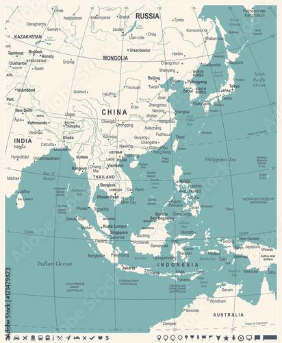 Photo East Asia Map - Vintage Vector Illustration