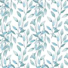 Watercolor Seamless Pattern With Branches And Leaves
