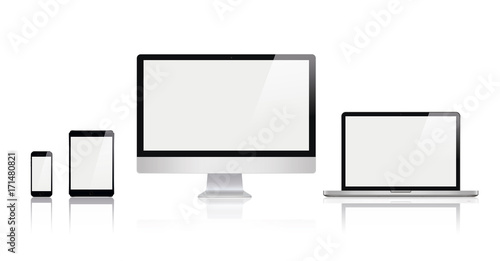 set of realistic computer monitor laptop tablets and smartphone in