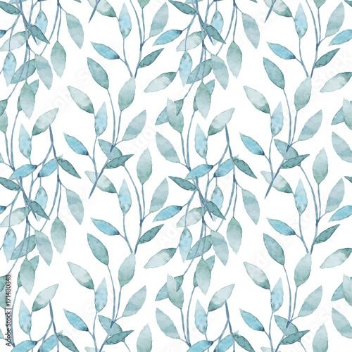 Materiał do szycia Akwarela bezszwowe wzór z gałęzi i liści