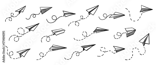 Vector paper airplane. Travel, route symbol. Set of vector illustration of hand drawn paper plane. Isolated. Outline. Hand drawn doodle airplane. Black linear paper plane icon