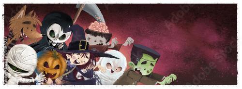 niños monstruos de halloween Fototapet