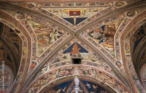 Plakat Renesansowe freski w Siena Baptistery, Włochy