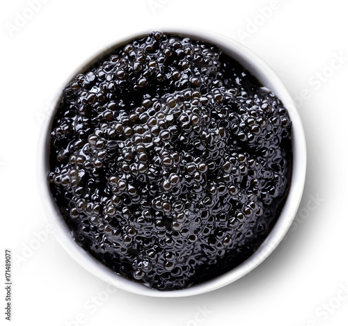 Bowl of black caviar Canvas Print
