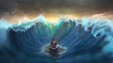 Woman Reading And Surrounded By Waves
