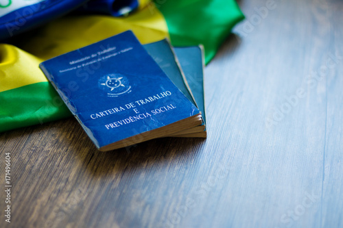 Fotografie, Obraz  Brazilian portfolio on the Brazilian flag and table